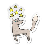sticker of a cartoon wolf with stars