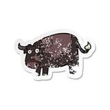 retro distressed sticker of a cartoon cow