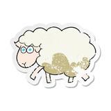 retro distressed sticker of a cartoon muddy sheep