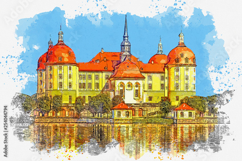 Watercolor sketch or illustration of a beautiful view of the castle Moritzburg in Germany
