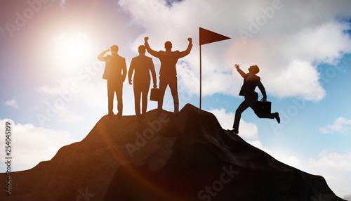 Businessmen in achievement and teamwork concept - 254045199