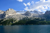 the spectacular Lake of Fedaia at the base of the Marmolada glacier