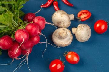 radish, mushrooms, cherry tomatoes, chili pepper