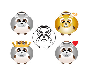 Cute raccoon icon set for web,invitation, poster, sticker, print. Vector isolated illustration of funny raccoons with hearts, crown,stars and outline. - Vector