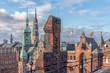 Leinwanddruck Bild - The skyline of Hamburg Germany from the Unesco World Heritage