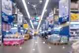 Franchise Distribution network Shop Retail Business Financial concept. Blurred supermarket background.