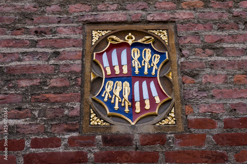 Coat of arms is a heraldic visual design on an escutcheon - 254050364