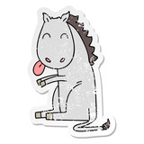 distressed sticker of a quirky hand drawn cartoon horse