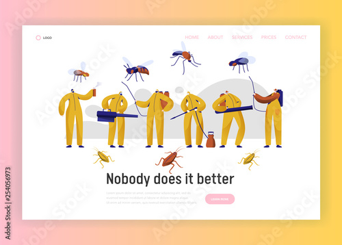 Mosquito Pest Control Professional Character Landing Page. Man in Uniform Fight with Insect. Cockroach Disinfection Service with Toxic Fumigation Website or Web Page. Flat Cartoon Vector Illustration - 254056973