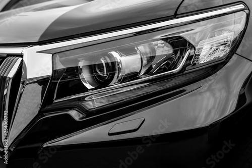 Closeup of car headlight - front view - 254065792