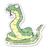 distressed sticker of a cartoon snake