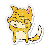 distressed sticker of a cartoon fox