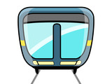 Front view of a cartoon train. Vector illustration design