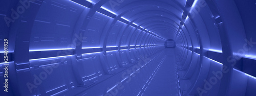 Futuristic tunnel. Fantasy on the theme of space.  3D illustration - 254091929