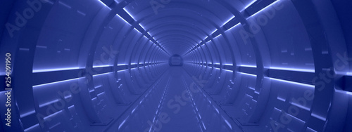Futuristic tunnel. Fantasy on the theme of space.  3D illustration - 254091950