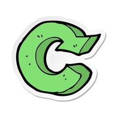 sticker of a cartoon recycling symbol