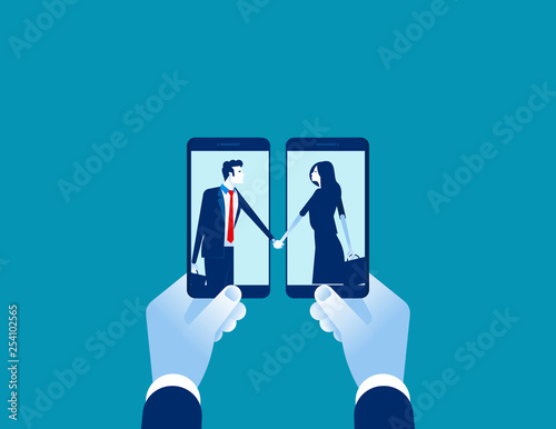 Smartphone with business agreement . Concept business vector, Technology, Mobile, Shakinghand