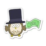 sticker of a cartoon rich owl