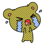 cartoon of a cute crying bear