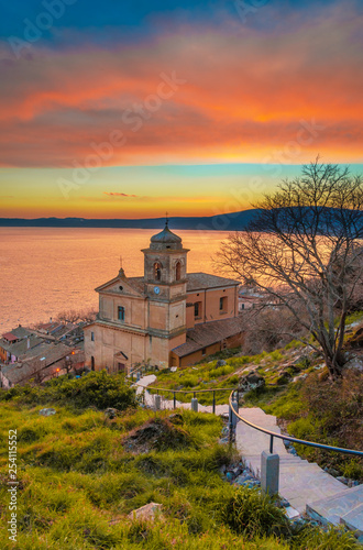 Trevignano Romano (Italy) - A nice medieval town on Bracciano lake, province of Rome, Lazio region, here at sunset - 254115552
