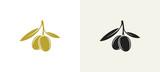 Black olives. Green olives. Icon set