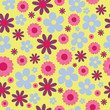 Vector yellow pink blue hippie floral seamless pattern background - 254117135