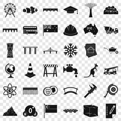 City bridge icons set. Simple style of 36 city bridge vector icons for web for any design © ylivdesign