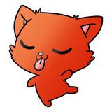 gradient cartoon of cute kawaii cat