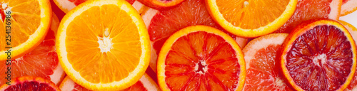 Different kinds of oranges and grapefruit slices background - 254136986