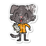 distressed sticker of a laughing cartoon dog boss