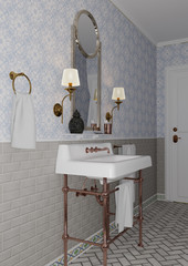 3D Rendering Vintage Bathroom