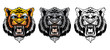 Set of growling tiger heads.