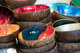 Bamboo bowl with decoration at the market
