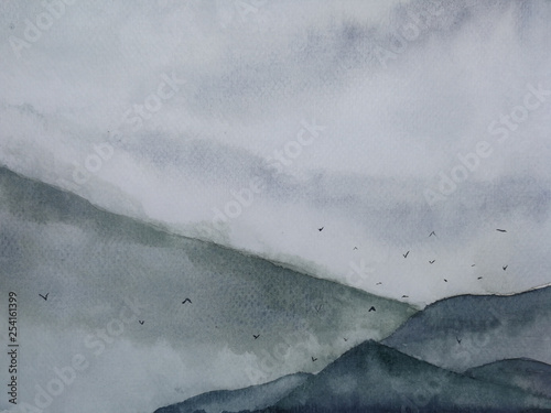 watercolor misty landscape mountain fog and birds flying in the sky. traditional oriental ink asia art style © atichat