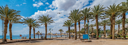 Panoramic view on the central beach of Eilat - famous tourist resort and recreational city in Israel © sergei_fish13