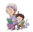Leinwandbild Motiv abuela con niño y gato leyendo un libro