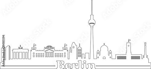 Skyline Bundeshauptstadt Berlin mit Schriftzug