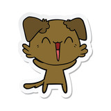 sticker of a happy little dog cartoon
