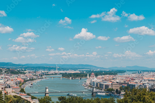 panoramic view of budapest in summer time - 254191580