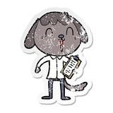 distressed sticker of a cute cartoon dog wearing office shirt