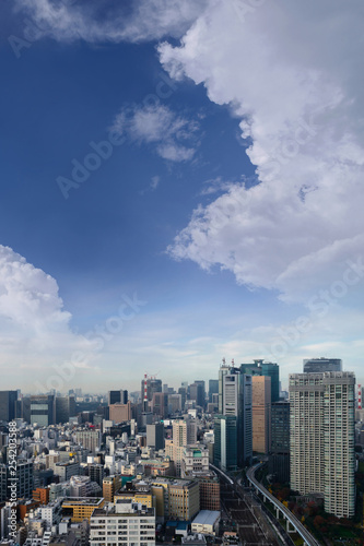 obraz PCV Landscape of tokyo city skyline in Aerial view with skyscraper, modern office building and blue sky background in Tokyo metropolis, Japan.