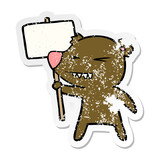 distressed sticker of a angry bear cartoon protesting