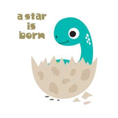 A star is born. Cute dinosaur