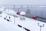 winter landscape with multiple-unit train