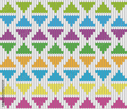 obraz PCV knitting pattern background of triangles in green, pink, yellow, blue, orange and purple on white