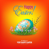 Easter orange composition with egg and grass with flowers, snowdrops,