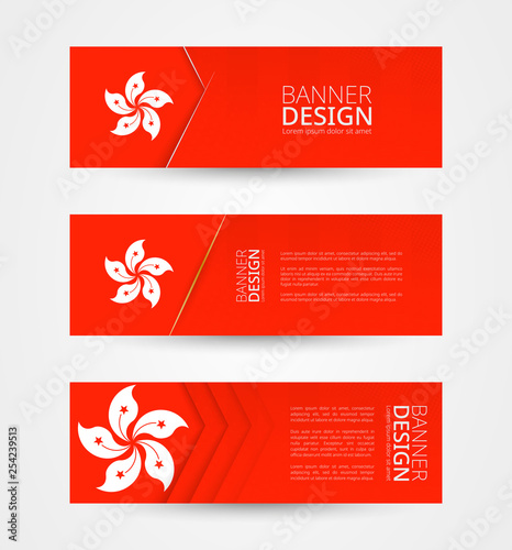 obraz PCV Set of three horizontal banners with flag of Hong Kong. Web banner design template in color of Hong Kong flag.