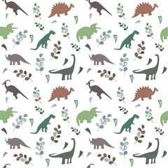 Seamless pattern with multicolors dinosaurs and bright leaf on the white background