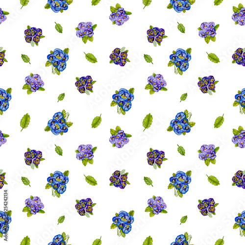 Seamless floral pattern with pansy, watercolor.