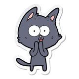 sticker of a funny cartoon cat